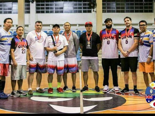 The Guam Masters Basketball Association 35 plus team. From left: Chris Conwi (Chairman - PMBA), Cy Concepcion, Jim Heffelfinger, Charles Reyes, Oscar Espinosa, Sandy Fejeran, Faygh Thompson, Chris Millonzi, Bob Roque (Operations Manager- PMBA), Diron Cruz (President- GMBA). Not shown is Frank Champaco