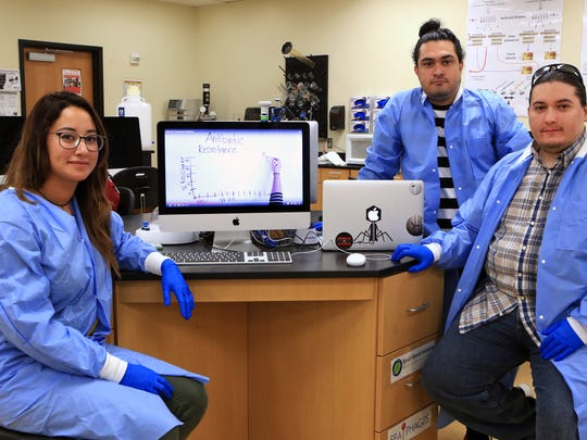 Del Mar College students Reavelyn Pray (from left), Danial Nasr Azadani and John Ramirez were selected as finalists in the 2017 Community College Innovation Challenge. The team will travel to Washington D.C., and present their projects to members Congress. This video was submitted to the challenge.