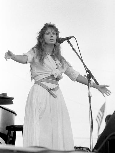 Juice Newton performs for a packed audience at the RCA Records show on June 6, 1984, during Fan Fair at the Tennessee State Fairgrounds. Her surprise appearance was one of the highlights of the show.