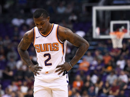 Suns guard Eric Bledsoe reacts on the court on Oct.