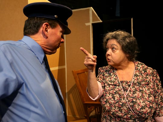 """John Maas, as Roy, and Joyce Kemp, as Carrie Watts, rehearse for """"The Trip to Bountiful,"""" which runs Nov. 13-Dec. 5 at Pentacle Theatre."""