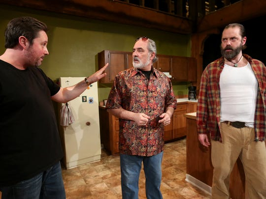 """From left, Seth Allen, as Austin, Ed Schoaps, as Saul, and Lance Nuttman, as Lee, rehearse for The Verona Studio's """"True West"""" at the Reed Opera House. The play, an American classic by Sam Shepard, runs Feb. 18-March 5."""