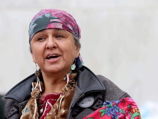 """Anna Mae Leonard is doing a five-day fast to protest a NestlŽ water bottling deal that threatens a culturally significant site and sacred water of local tribes at the Oregon State Capitol in Salem on Wednesday, Sept. 21, 2016. """"We've kind of come to expect they aren't going to honor our treaties,"""" Leonard, a member of the Confederated Tribes of Warm Springs, said, """"but we did expect them to honor the voters."""""""
