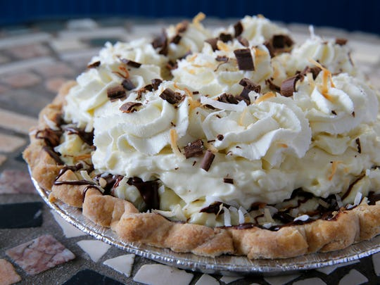 A chocolate-covered coconut cream pie at Sunburst Pie Co.