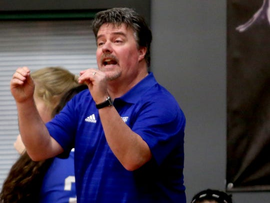 Blanchet head coach Ron Hittner calls to his team in the Blanchet vs. Salem Academy girl's basketball game at Salem Academy High School on Thursday, Jan. 14, 2015. Blanchet won the game 56-43.
