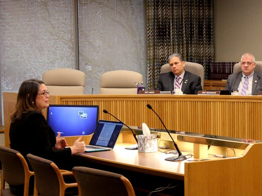 Sen. Sara Gelser, D-Corvallis, speaks to the House Committee on Human Services and Housing at the Oregon State Capitol in Salem on Tuesday, Feb. 20, 2018. Gelser is a chief sponsor of Senate Bill 1540, which clarifies Oregon's mandatory reporting laws.