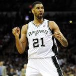 Tim Duncan averaged 19 points and 10.8 rebounds during his 19-season career.