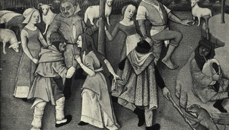 """Country dance scene from the """"Hours"""" of Charles d'Angouleme, before 1496, Late Middle Ages. (Courtesy of history-world.org)"""