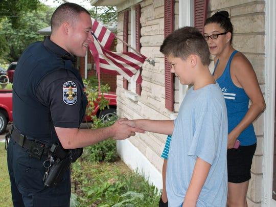 Officer Skylar Graudick meets Calvin.