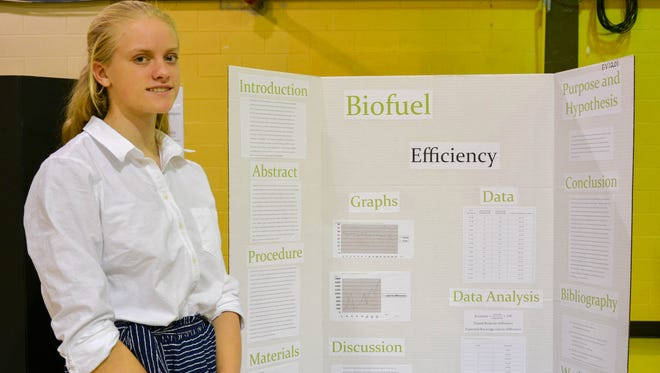 "Emma King placed second in the environmental category for her project, ""Biofuel Efficiency,"" at the 28th annual Cumberland County College Science Research Competition."