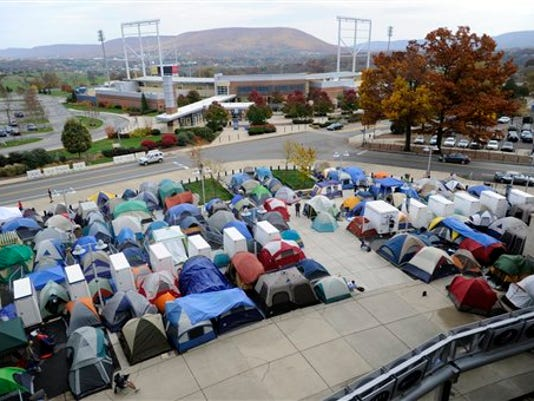 Penn State's Nittanyville encampment saw it's largest crowd ever this week as students line up for a chance to get the best possible seats for Saturday's Penn State-Ohio State game. (Associated Press)