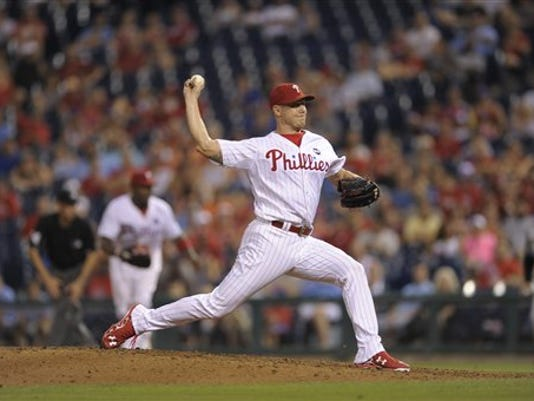Philadelphia Phillies relief pitcher Jonathan Papelbon is seen during a baseball game against the Miami Marlins, Saturday, July 18, 2015, in Philadelphia.