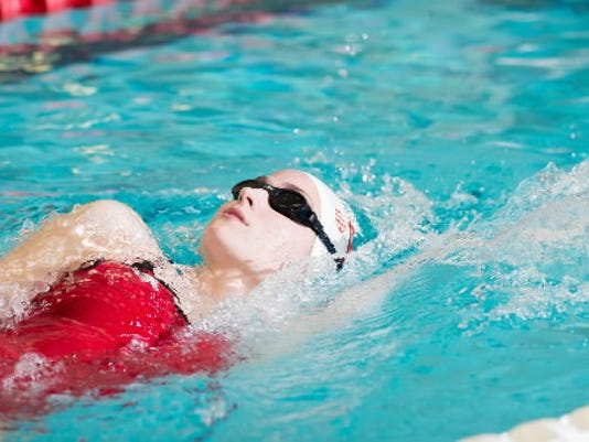 York Suburban grad Julia Kucherich is shown competing for the University of Arkansas in this submitted photo.