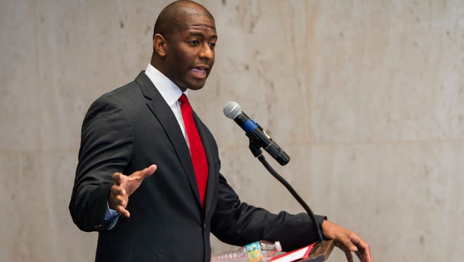 Tallahassee Mayor and candidate for Florida governor Andrew Gillum speaks during the Florida AP Legislative Day at the Florida Capitol Thursday.