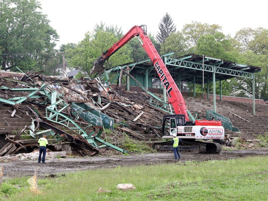 Demolition of the grandstand at Memorial Field begins May 14, 2018 in Mount Vernon.