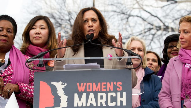 Sen. Kamala Harris, D-Calif., speaks during the Women's March on Washington on Jan. 21, 2017.