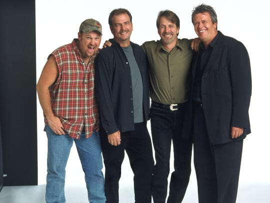 "Comedians Larry The Cable Guy, left to right, Bill Engvall, Jeff Foxworthy and and Ron White star in the feature film version of the hit comedy tour ""Blue Collar Comedy Tour: The Movie.""  (Gannett News Service, Peter Tangen/Warner Bros.)"
