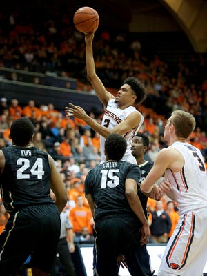 Feb 6, 2016; Corvallis, OR, USA: Oregon State guard guard Stephen Thompson Jr. (2) scores a basket against in a game against Colorado during the first half at Gill Coliseum.