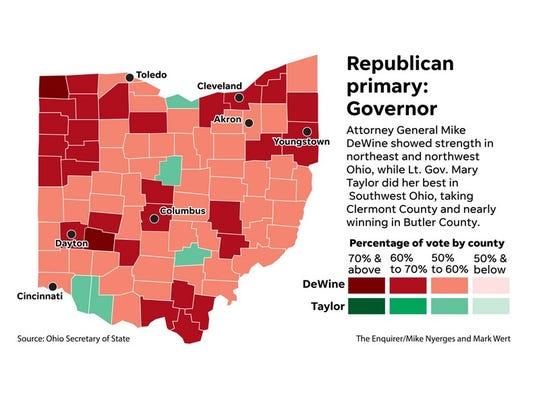 Map: 2018 Ohio Republican primary governor results
