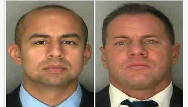Former Yonkers police Officer Neil Vera, left, and Yonkers police Detective Christian Koch.