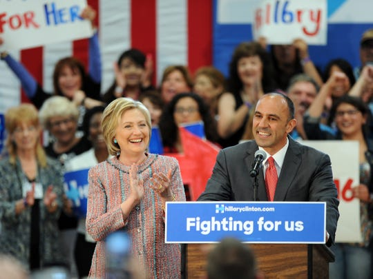 Democratic congressional candidate Jimmy Panetta introduces presidential candidate Hillary Clinton to a full house at Hartnell College in Salinas on Wednesday, May 25th, 2016.