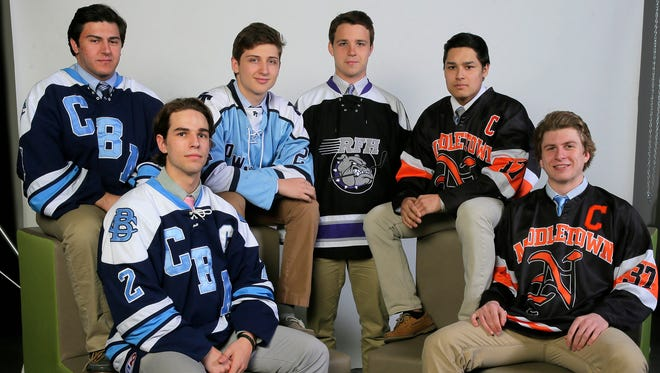 The 2016 APP All-Shore Hockey Team gather for a photo Thursday, March 17, 2016. They are (l-r):  Michael Cernero, CBA;  Ryan Bogan Jr., CBA; Julian Kislin, Freehold Township; Brendan Ban, Rumson-Fair Haven; Khristian Acosta, Middletown North; and Bobby Hampton, Middletown North.