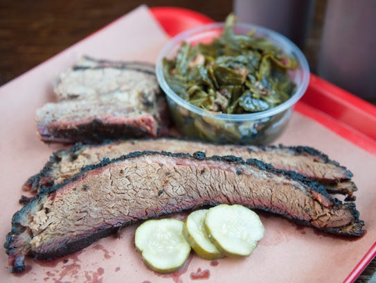 Brisket and collard greens at Mike's BBQ in Philadelphia.