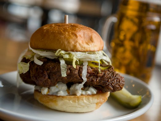 The Nashville Hot Chicken sandwich, with shredded lettuce,