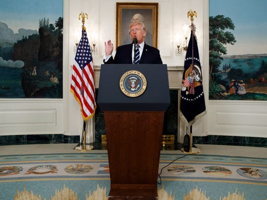 President Donald Trump makes a statement about the mass shooting in Las Vegas, Monday, Oct. 2, 2017 at the White House in Washington.