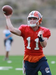 Former UTEP quarterback Mack Leftwich during a 2015 practice.