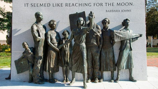 Virginia Civil Rights Memorial sits next to the State Capitol in Richmond, Va.