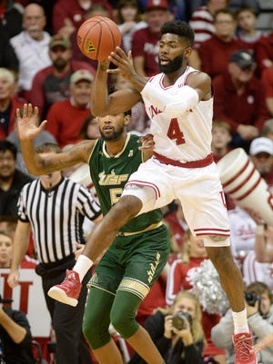 Indiana Hoosiers guard Robert Johnson (4) during the Indiana South Florida men's NCAA college basketball game at Simon Skjodt Assembly Hall in Bloomington, Ind., Sunday, Nov. 19, 2017.