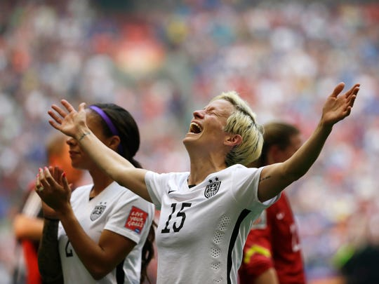 United States' Megan Rapinoe celebrates after the U.S. beat Japan 5-2 in the FIFA Women's World Cup soccer championship in Vancouver, British Columbia.