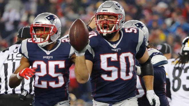 Rob Ninkovich (50) and the Patriots defense weren't biting when asked about the statements from Falcons RB Devonta Freeman.