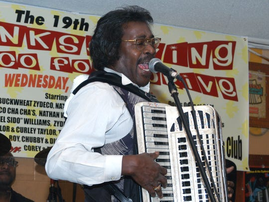 The late Stanley Dural Jr., leader of the band Buckwheat Zydeco, was a regular performer at the Thanksgiving Zydeco Food Drive.