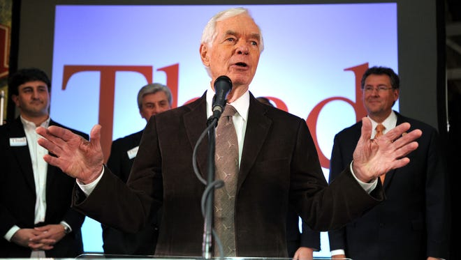 Sen. Thad Cochran speaks during a post election celebration Nov. 4, 2014 at the Mississippi Children's Museum in Jackson. Cochran was recognized Thursday for 38 years in the U.S. Senate.