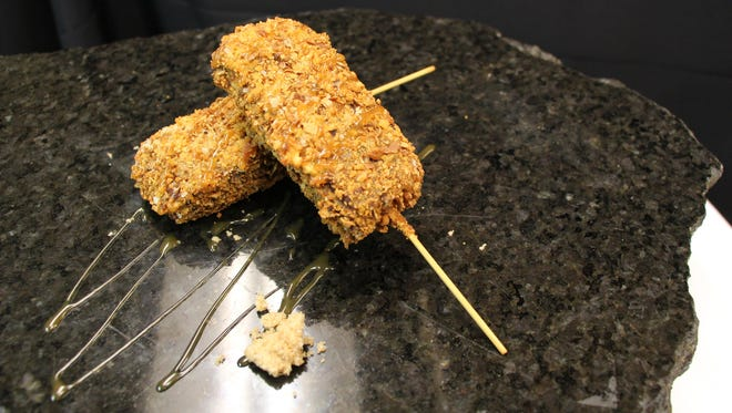 Deep Fried Pretzel Crusted Brownies On-a-Stick