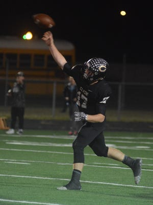 Returning Clyde quarterback Payton Burton throws a pass against Jim Ned in 2017.