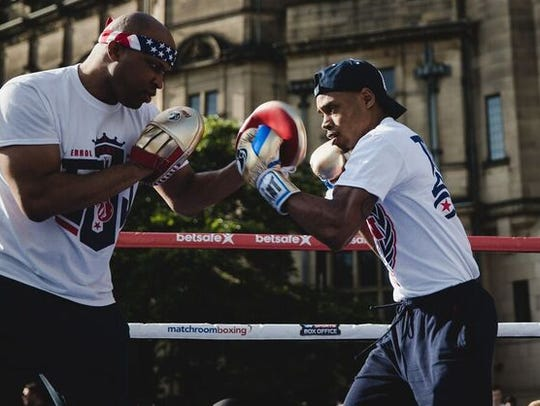 Errol Spence Jr., right, during a media workout this