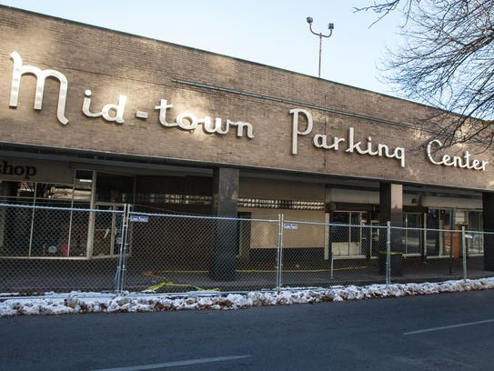 The former Mid-town Parking Center sits in a state