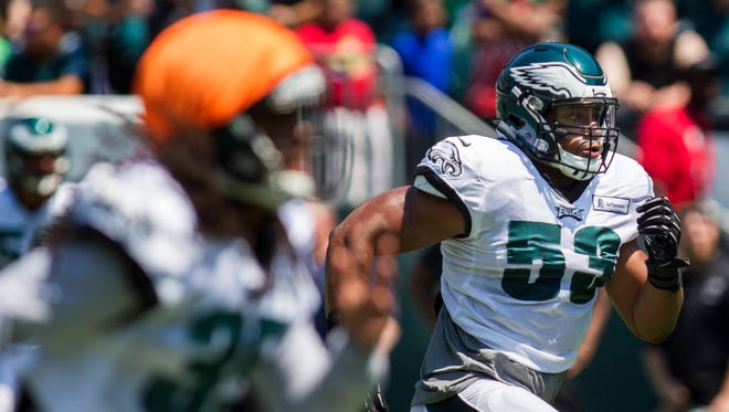 Najee Goode is one of the players whom the Eagles are counting on to replace Jordan Hicks, who suffered a season-ending injury Sunday night in Dallas.