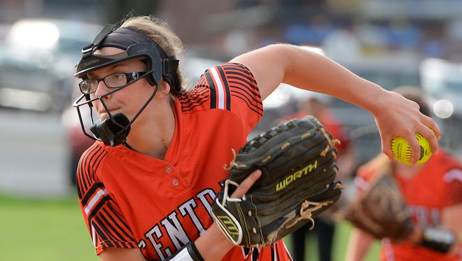 Central York's Courtney Coppersmith pitched a shut-out against Dallastown, Monday, May 7, 2018, leading the Panthers to a 8-0 win. John A. Pavoncello photo