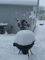 "Elijah using ""the force"" on snow."