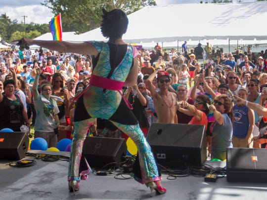 The crowd cheers as Alyssa LaMay performs at SWFL Pride