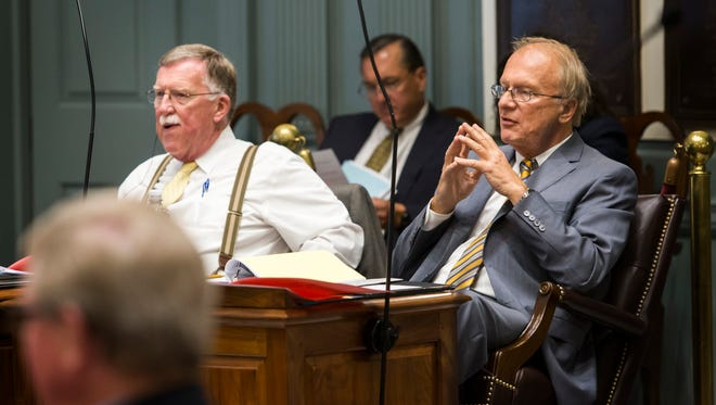 State Sens. Brian Bushweller, D-Dover, (left) and Robert Marshall, D-Wilmington, are seen in a 2016 file photo. Bushweller on Tuesday effectively killed Marshall's bill to raise the state minimum wage to $9.25 by next year by opting not to vote on the measure, which garnered support from the other 10 Democrats in the Senate.