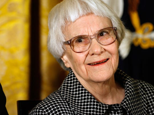"Harper Lee, author of ""To Kill a Mockingbird,"" receiving"