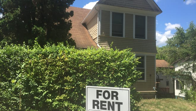 A house for rent on South Cayuga Street, one of several vacancies on the edge of downtown Ithaca. While the city's vacancy rate is still low, demand for certain types of housing throughout the city and county is still high.