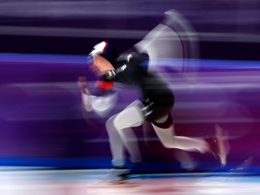 Heather Bergsma of the U.S. competes during the women's 1,000 meters speedskating race at the Gangneung Oval at the 2018 Winter Olympics in Gangneung, South Korea, Wednesday, Feb. 14, 2018. (AP Photo/John Locher)