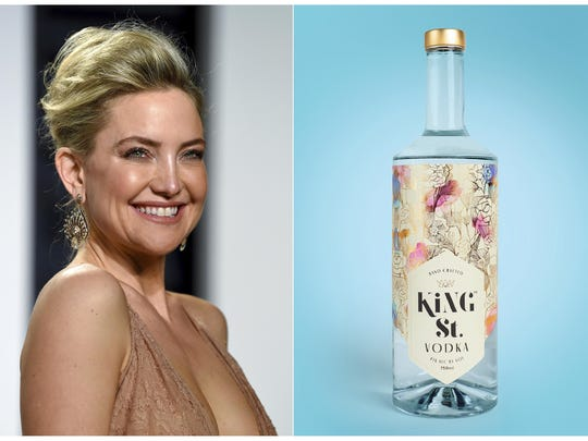 This combination photo shows actress Kate Hudson at the Vanity Fair Oscar Party in Beverly Hills, Calif. on Feb. 27, 2017, left, and a bottle of her gluten-free, non-GMO King St. Vodka.