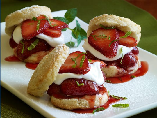 Classic strawberry shortcake is re-imagined as sliders filled with both fresh and cooked fruit.